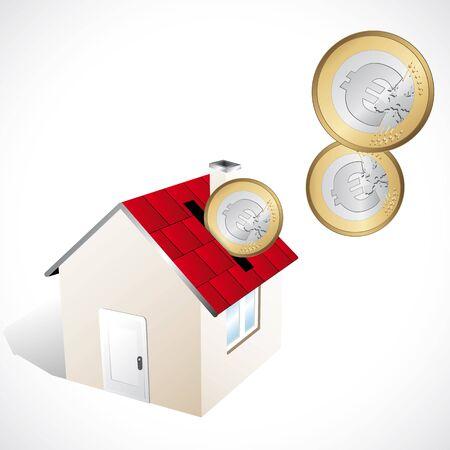 owner money: Piggy bank home Illustration