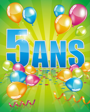 5 years: French birthday card 5 years