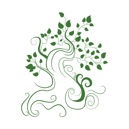 line drawings: Art tree Illustration