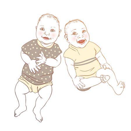twin: Twin babies Illustration