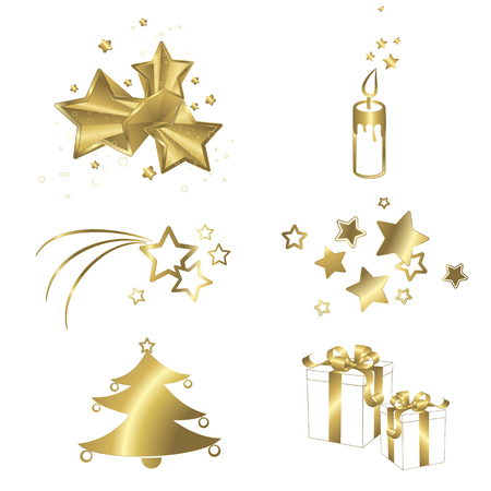 gold star: Christmas symbols