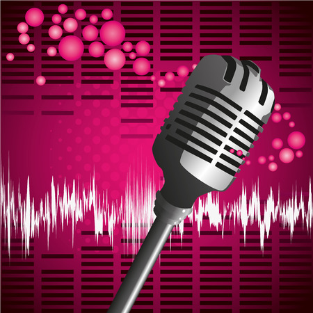 decibel: Pink microphone background