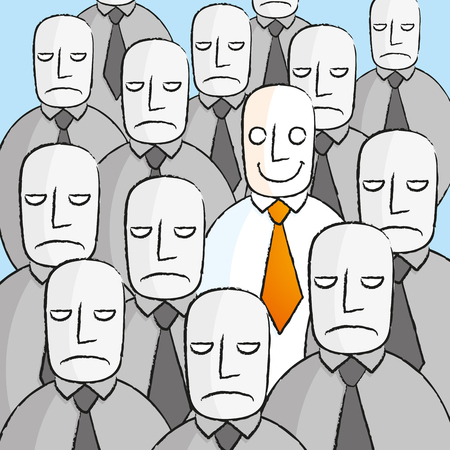 disinterest: Smiling man in a crowd of sad people Illustration
