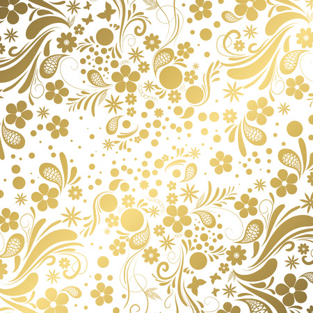 Vector gold floral background