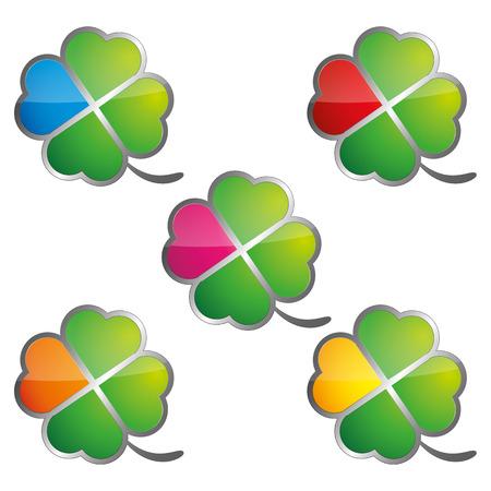 clovers: Four leaf clovers color Illustration