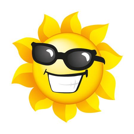 sol radiante: Sol de dibujos animados Vectores