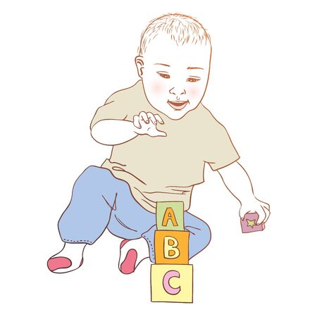 little child: Baby playing