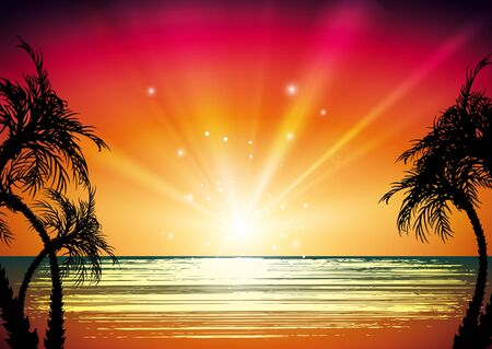 sunset beach: Tropical landscape