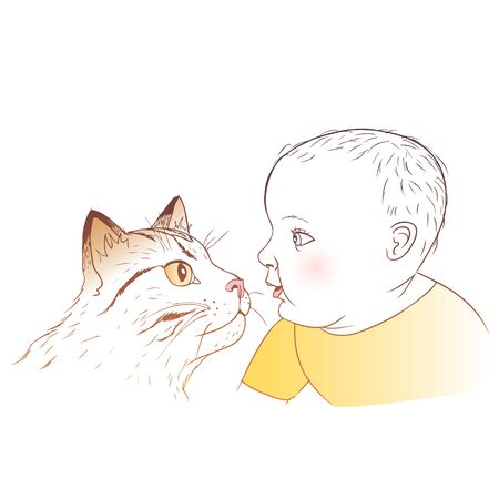 Baby and cat Vectores