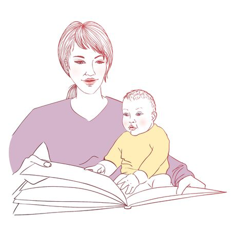 Baby and mum reading