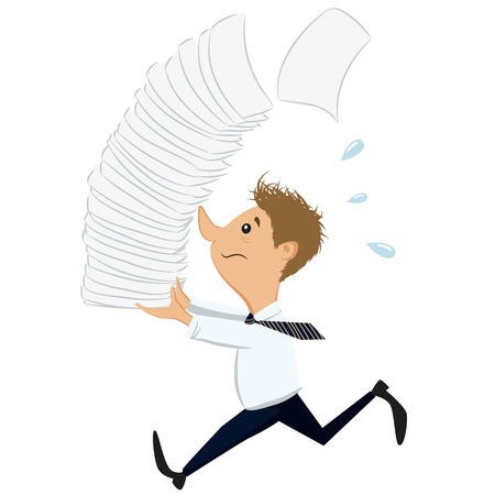 stack of paper: Hurry up businessman