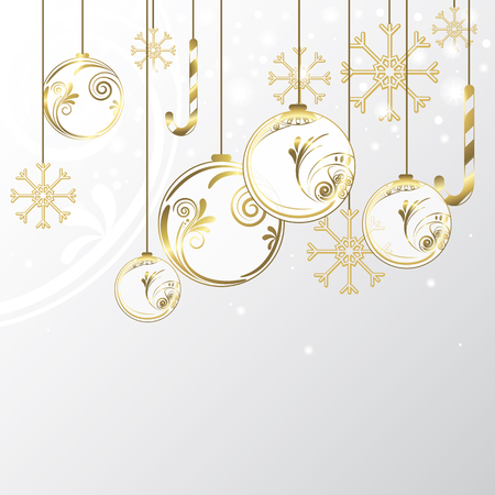 golden ball: Christmas gold background Illustration