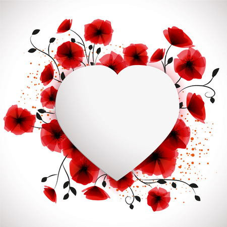 heart in love: Poppies background Illustration