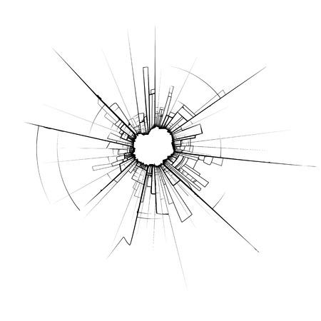 window display: Broken glass impact