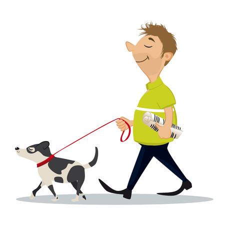 dog walking: Man walking with his dog Illustration