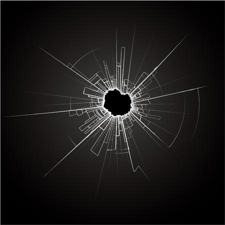 cristal roto: Impacto Cristales rotos Vectores