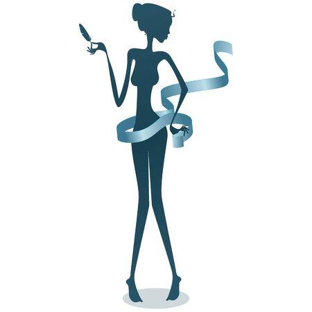 diet food: Thin woman illustration
