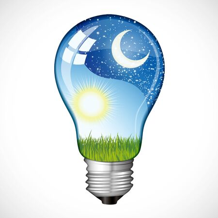 day and night: Day night bulb Illustration