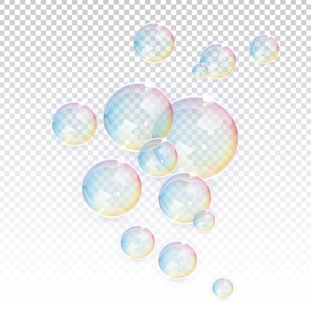 soap: Bubbles transparent vector elements Illustration