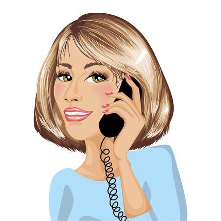 standardiste: Femme d'affaires en ligne Illustration