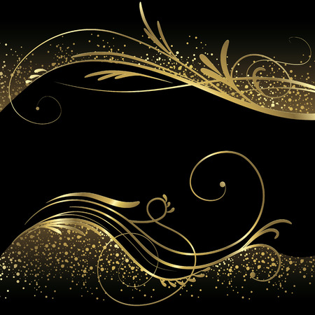 Black and gold background Ilustrace