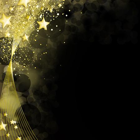 Zwarte en gouden achtergrond Stock Illustratie