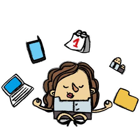overwork: Zen businesswoman Illustration