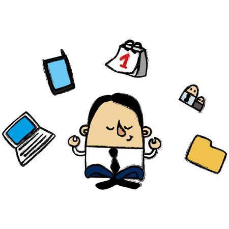 overwork: Zen businessman