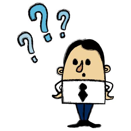 hesitation: Businessman questions Illustration