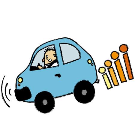braking: Man braking Illustration