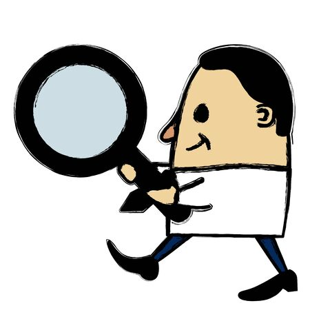 inspect: Businessman holding a magnifying glass