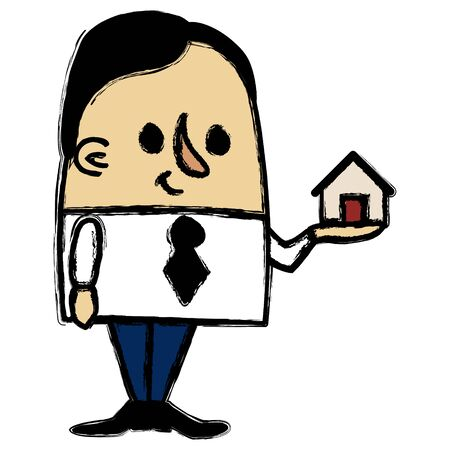 resale: Businessman holding a little house Illustration