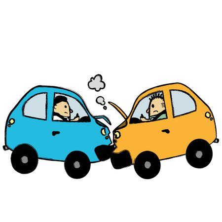 Car accident cartoon Illustration