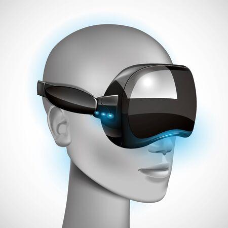 headset: Head virtual wearing headset Illustration