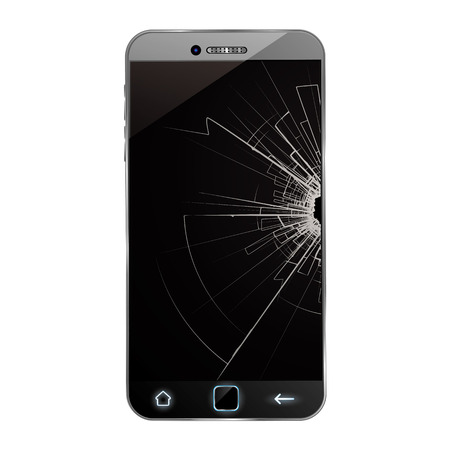 broken screen: Broken smartphone Illustration