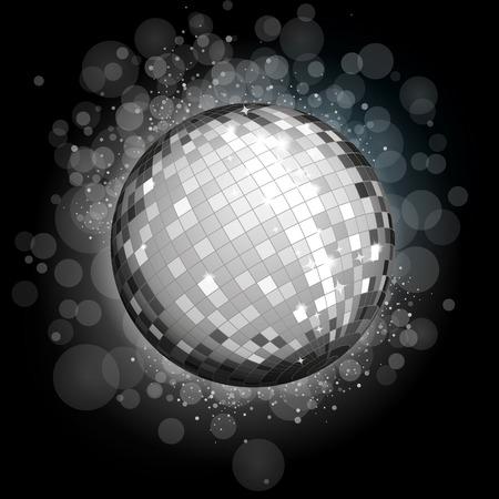 Silver disco ball Vektorové ilustrace