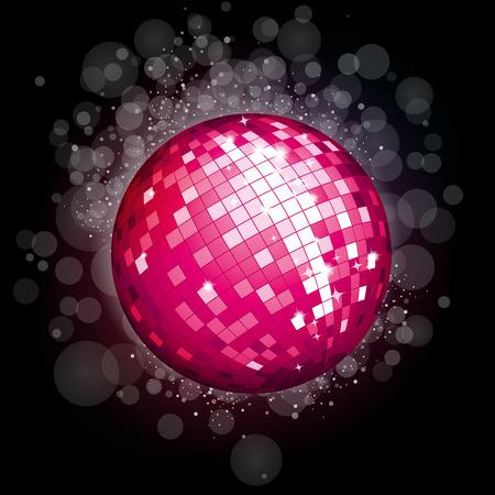 70 80 years: Pink disco ball Illustration
