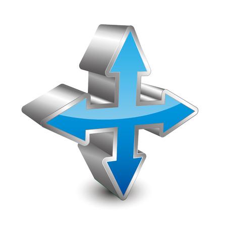 puntos cardinales: Icono 3D pad direccional