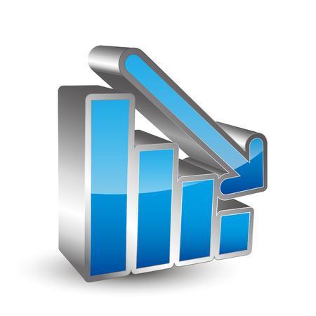 deficits: Down 3D graph icon