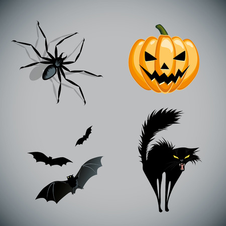 naughty or nice: Halloween vector set Illustration