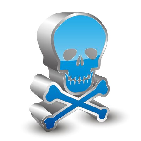 deadly poison: 3D skull icon