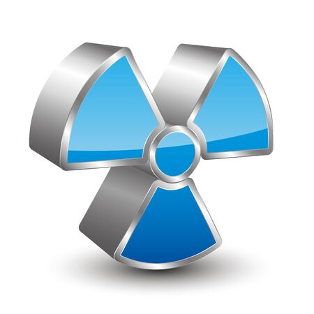 radioactivity danger logo: 3D radioactivity icon