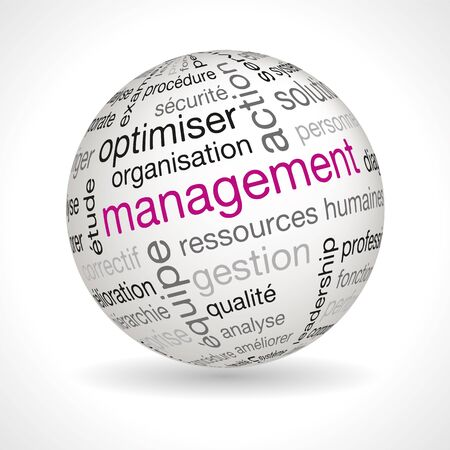 keywords: French management theme sphere with keywords full vector