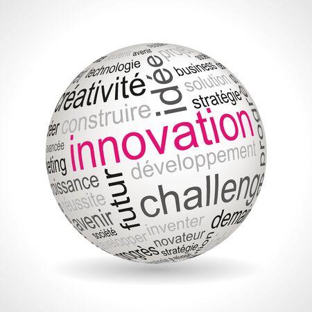 French Innovation theme sphere with keywords full vector Ilustração