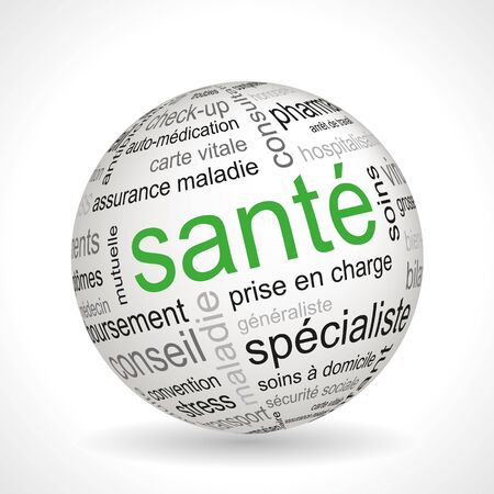 screening: French health theme sphere with keywords full vector