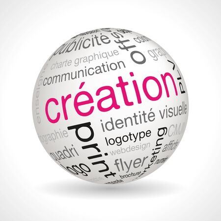 creation: French Creation theme sphere with keywords full vector