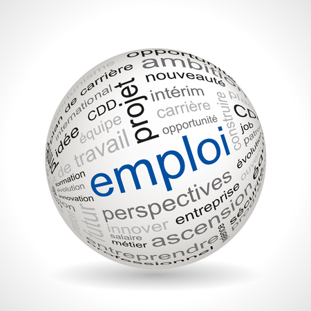 French employment theme sphere with keywords full vector