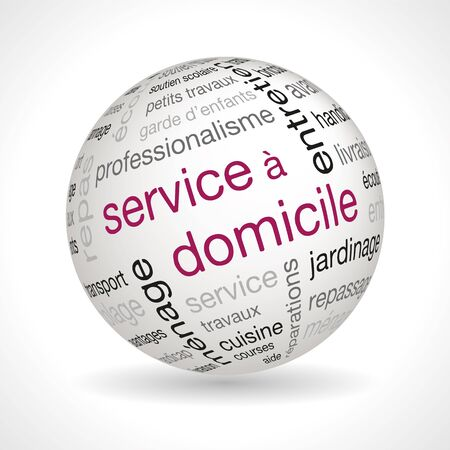 French Home Service theme sphere with keywords full vector Illustration