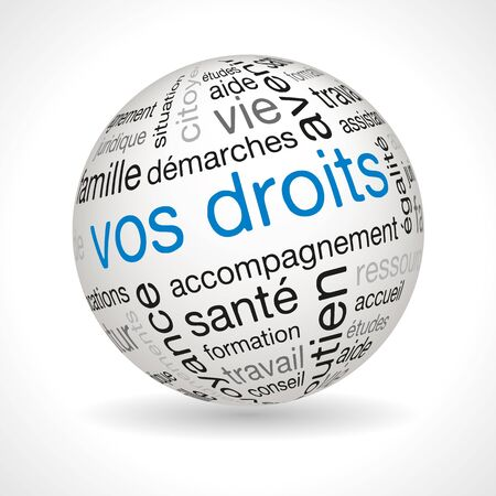 lexical: French Your Rights theme sphere with keywords full vector Illustration