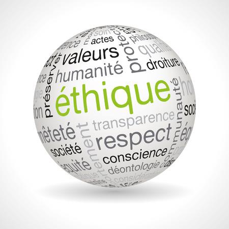 フランス倫理テーマ キーワード ベクトル球  イラスト・ベクター素材